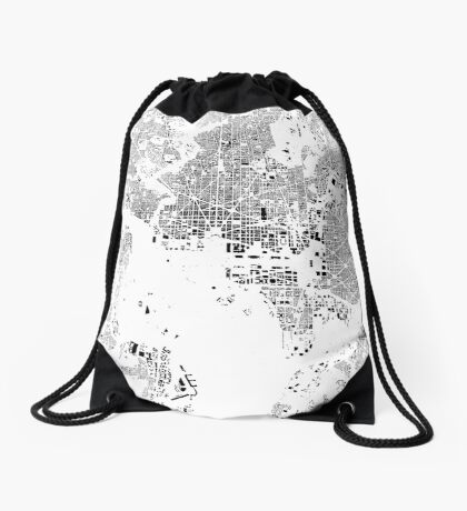 Washington Map Schwarzplan Only Buildings Urban Plan Drawstring Bag