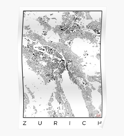 Zurich Map Schwarzplan Only Buildings Urban Plan Poster