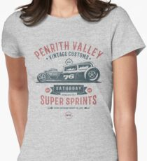 Vintage Customs Super Sprint [Muted Red & Blue] Womens Fitted T-Shirt