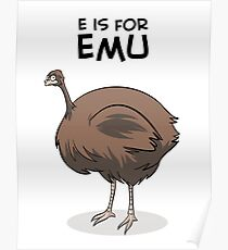 E is for Emu Poster