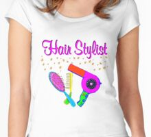 PINK AND GOLD STAR HAIR STYLIST Women's Fitted Scoop T-Shirt