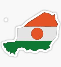 Niger Map With Flag of Niger Sticker