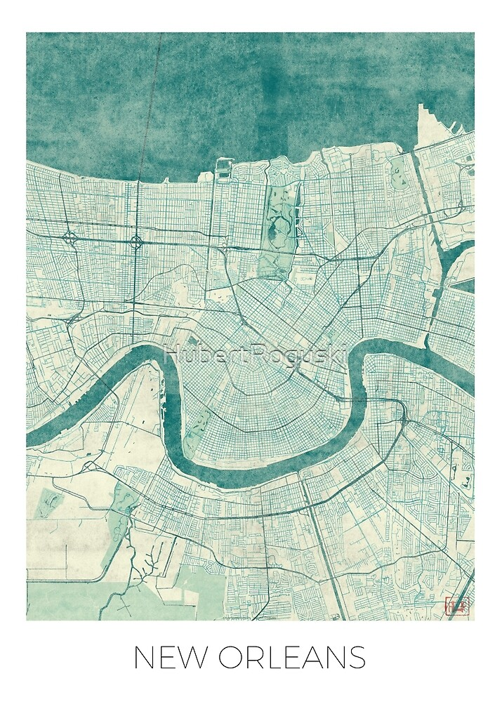 New Orleans Map Blue Vintage by HubertRoguski