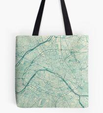 Paris Map Blue Vintage Tote Bag