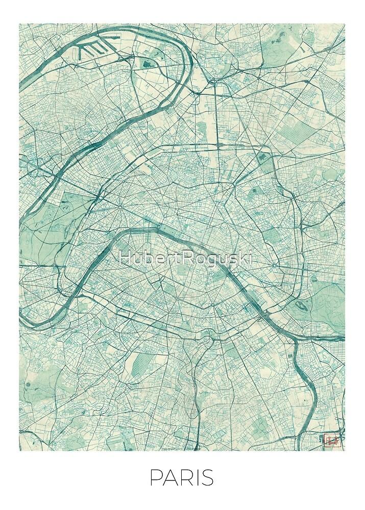 Paris Map Blue Vintage by HubertRoguski