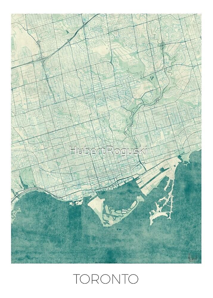 Toronto Map Blue Vintage by HubertRoguski