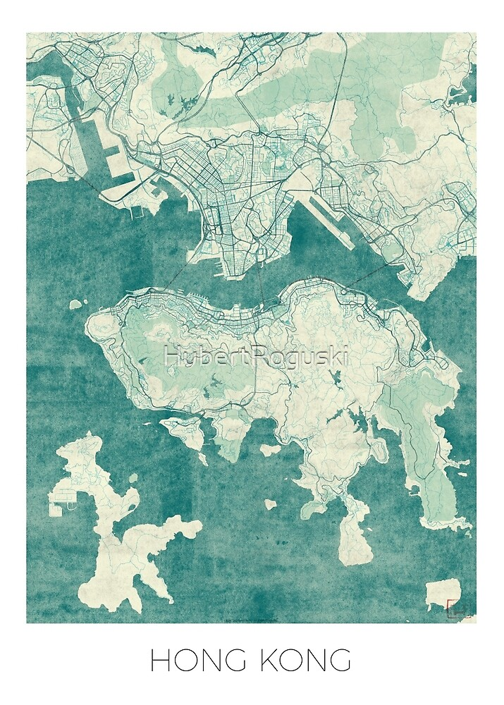 Hong Kong Map Blue Vintage by HubertRoguski