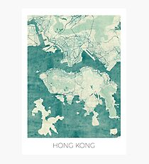 Hong Kong Map Blue Vintage Photographic Print
