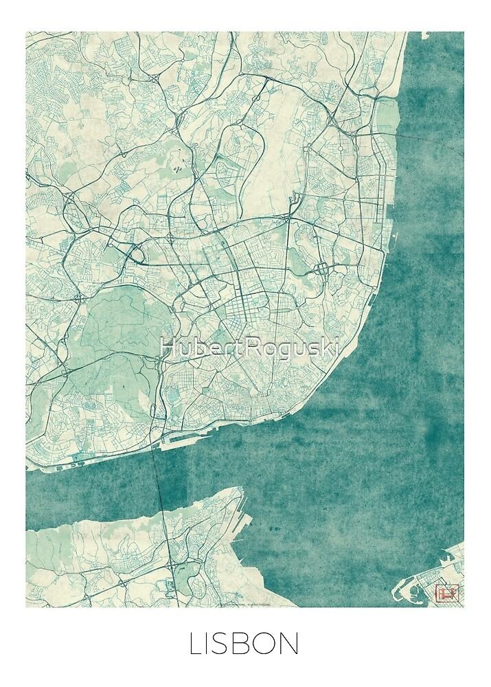 Lisbon Map Blue Vintage by HubertRoguski