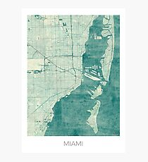 Miami Map Blue Vintage Photographic Print