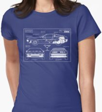Back to the Future DeLorean blueprint Women's Fitted T-Shirt