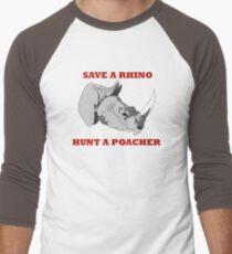 Save A Rhino, Hunt A Poacher Men's Baseball ¾ T-Shirt