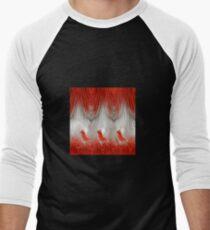 three redbirds in fire background Men's Baseball ¾ T-Shirt