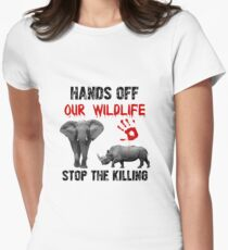 Hands Off Our Wildlife Women's Fitted T-Shirt