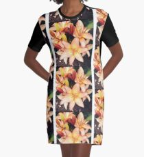 Peach Flower by Snow Graphic T-Shirt Dress