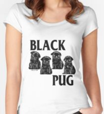 black pug Women's Fitted Scoop T-Shirt
