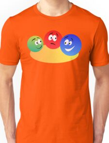 Blue Red And Green Fun Colourful Smiley's Unisex T-Shirt