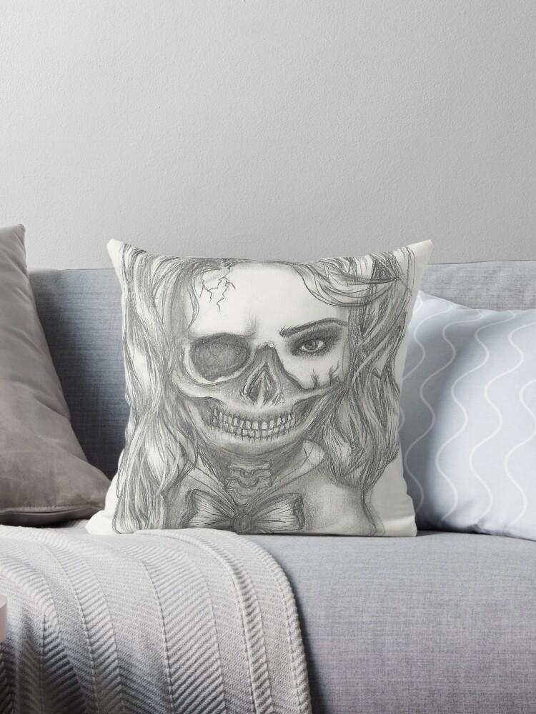 Half Skull Half Girl Throw Pillows By Melaniedegier Redbubble