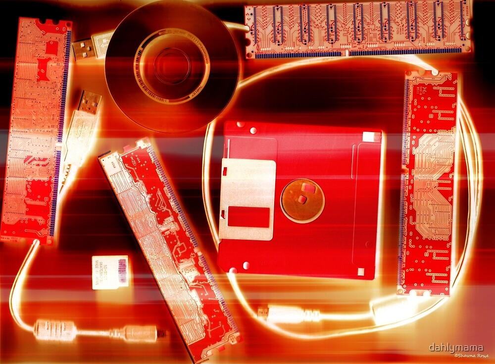 Leftover Tech - Red and White by Shawna Rowe