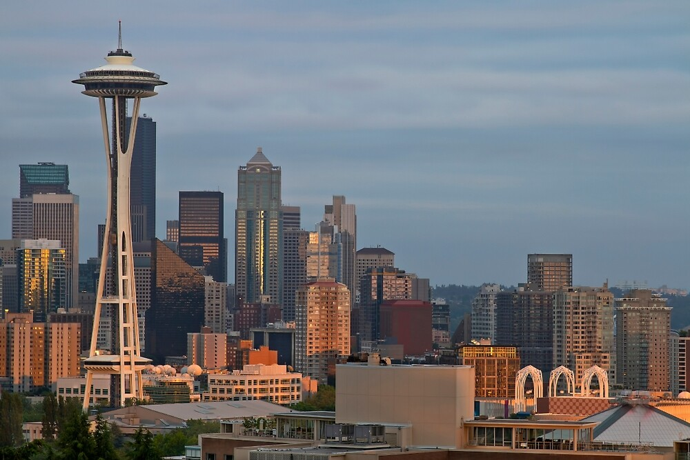 Seattle Skyline at Sunset by davidgnsx1