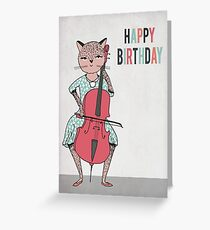 Happy Birthday - Cat plays Cello Greeting Card