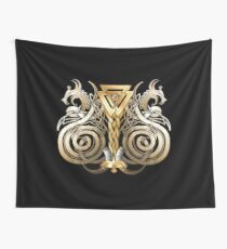 Norse Valknut Dragons  Wall Tapestry