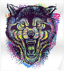 Neotraditional Full Color Wolf Poster
