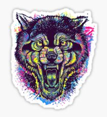 Neotraditional Full Color Wolf Sticker