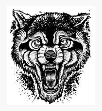 Neotraditional Inked Wolf Photographic Print