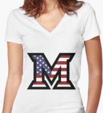 Miami University 'M' American Flag  Women's Fitted V-Neck T-Shirt