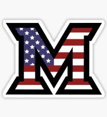 Miami University 'M' American Flag  Sticker