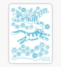 Cats Ascamper - turquoise print Sticker