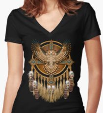 Native American Beadwork Owl Mandala Women's Fitted V-Neck T-Shirt