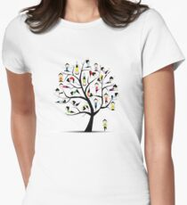 Yoga practice, tree concept Women's Fitted T-Shirt
