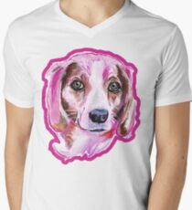 Beagle à la Pink Men's V-Neck T-Shirt