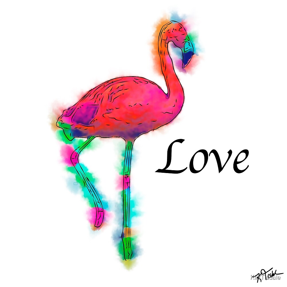 Love - Abstract Flamingo Step by KirtTisdale