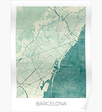 Barcelona Map Blue Vintage Poster