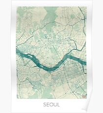 Seoul Map Blue Vintage Poster