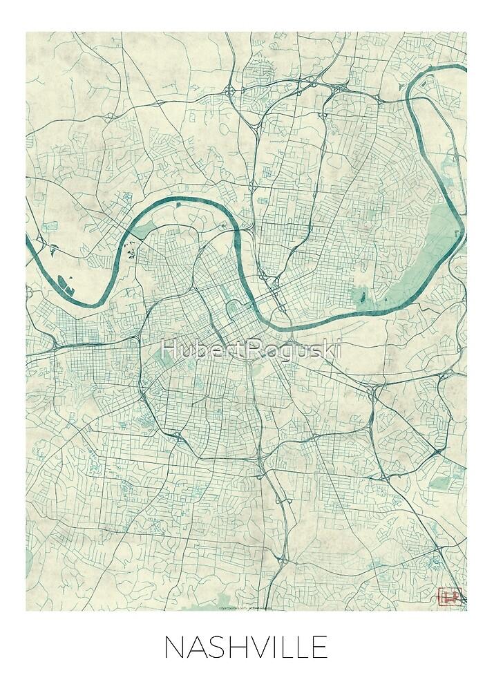 Nashville Map Blue Vintage by HubertRoguski
