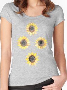 Cheerful Watercolor Sunflowers Women's Fitted Scoop T-Shirt