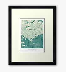 Singapore Map Blue Vintage Framed Print