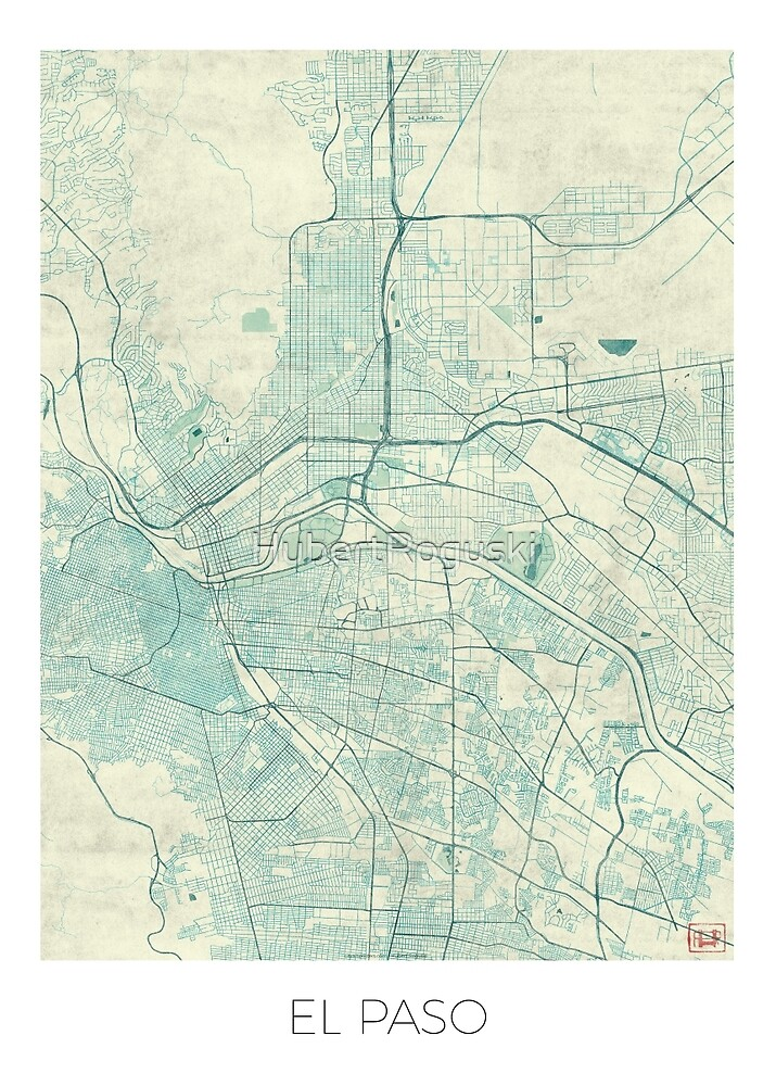 El Paso Map Blue Vintage by HubertRoguski