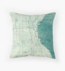 Milwaukee Map Blue Vintage Throw Pillow