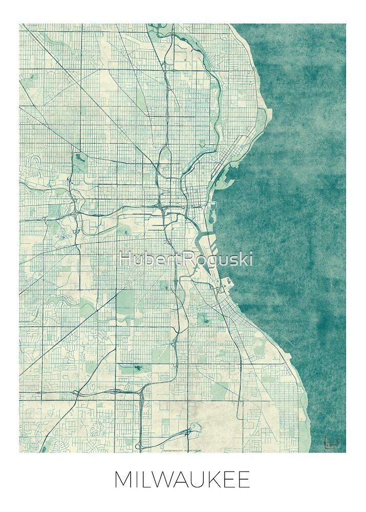 Milwaukee Map Blue Vintage by HubertRoguski