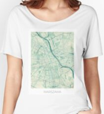 Warsaw Map Blue Vintage Women's Relaxed Fit T-Shirt
