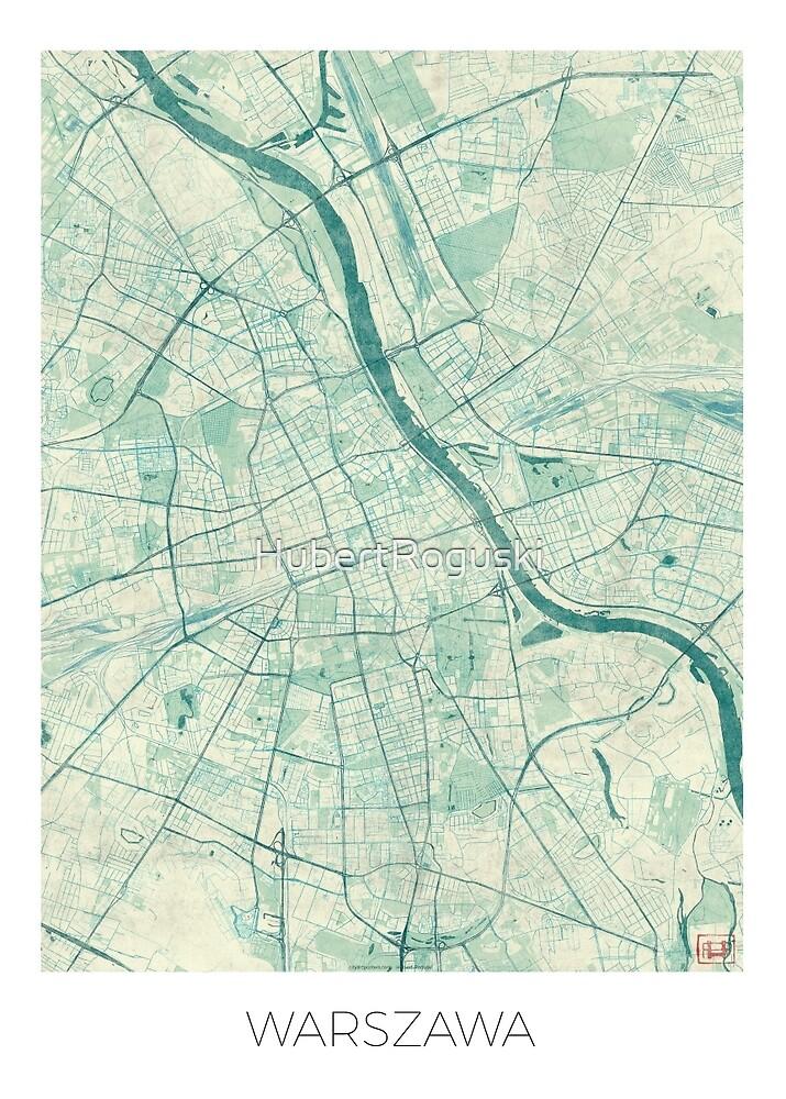 Warsaw Map Blue Vintage by HubertRoguski