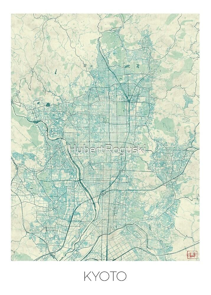Kyoto Map Blue Vintage by HubertRoguski