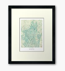 Kyoto Map Blue Vintage Framed Print