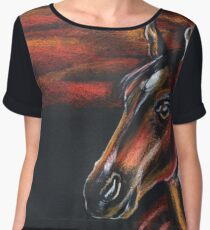 Red horse_Pastel painting_My favorite animals Chiffon Top