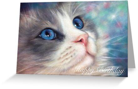 Ragdoll Cat Birthday Card Greeting Cards By Louisestevenson Redbubble